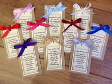 10 Personalised Forget Me Not Seed Wedding Favour Ribbon Retirement Gift