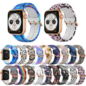 For Apple Watch SE 6 5 4 3 2 1 Silicone Print Band Sports Strap 38/42mm 40/44mm