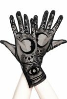 Restyle Moon Magick Fortune Teller Wicca Gothic Black Mesh Gloves