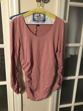 Isabella Oliver Maternity Long Sleeve Pink Scoop Top, Small Sz 2 US 4/6 New