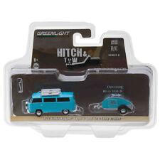 Greenlight 1972 VW Volkswagen Type 2 Bus and Teardrop Trailer Blue 1:64 32080-C