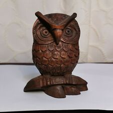 Wooden Owl  Black Forest Carved Ornament Figurine Figure