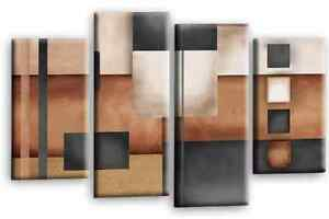 Le Reve Abstract Cream Beige Wall Art Grey Brown Cream 4 Panel Canvas Print