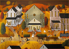 Halloween Trick Or Treat costume witch cat Giclee ACEO print folk art Criswell