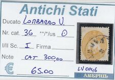 ANTICHI STATI - LOMBARDO VENETO - LV0046 - NR. 36 USATO - CATALOGO 300€