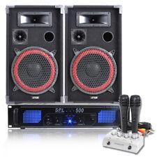 """2x MAX 10"""" Speakers + Amplifier + Karaoke Mixer + DJ Microphones System 600W"""