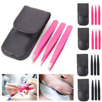 New 3Pcs Stainless Steel Tweezer Kit For Nail Hair Eyebrow Beauty Slanted Tools