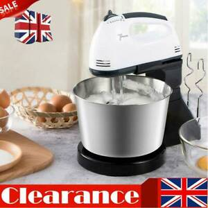 7 Speed 2L Electric Food Stand Hand Mixer Bowl Cake Dough Hook Whisk Beater UK