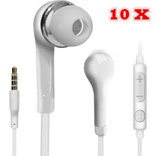 10 pcs Handsfree Wired Headphones Earphones Earbud with Mic-White For Samsung