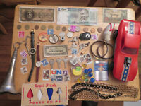 Junk Drawer lot old marbles old coins watches corvette plastic toy paper money
