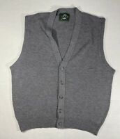 Vintage Jantzen Mens V Neck Button Sweater Vest Jacket Size XL Gray Made In USA