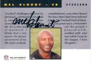 Mel Blount certified autographed signed autograph Steelers 1991 Pro Line card
