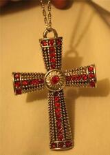 Sparkling Metal Bead Red Rhinestone Swirl Center Silvertn Cross Pendant Necklace