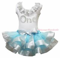 Birthday One White Top Shirt Blue Silver Satin Trim Skirt Girls Outfit Set NB-8Y