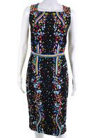 Peter Pilotto Womens Rainbow Floral Dress Black Multi Colored Size 12 10469596