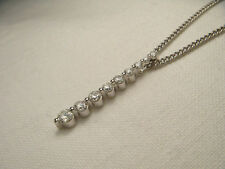 Stunning Estate 14K White Gold Diamond Drop Bar Journey Pendant Slide