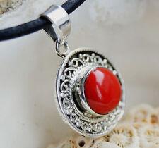 Kettenanhänger 2,6 cm Silber Koralle Rot Natürlich Modern Verspielt Antik Design