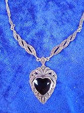 Noble, vieja collar collar __ __ 925 plata __ corazón: negra piedra __ piedras fosforescentes
