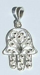 Hamsa Hand Pendant 925 Sterling Silver Diamond Cut # 1