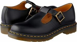 Women's Shoes Dr. Martens POLLEY Leather Mary Janes 14852001 BLACK SMOOTH