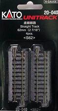 """Kato 20-040 N Unitrack 62mm 2 7/16"""" Straight Track 4pcs"""