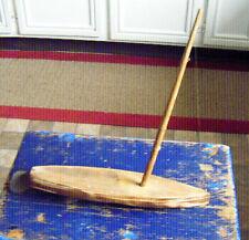vintage folkart pond boat handmade  and signed Tin rudder natural finish