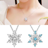 Women Silver Crystal Snowflake Pendant Necklace Choker Chain Party Jewelry Decor