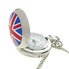 Retro British Flag Union Mens Womens Quartz Pocket Watch Pendant Necklace Chain