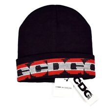 NWT Comme des Garcons CDG Black Red Gray Logo Knit Beanie Hat DS 2018 AUTHENTIC