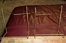 """Twisted Gold Plate or Book Holder Gold Twisted Metal 6"""" H Set of 2 Pc"""