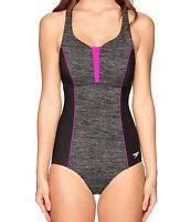 Speedo Womens Gray Sz 8 Space-Dye Endurance Touchback One-Piece Swimsuit $88 720