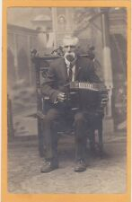 Studio Real Photo Postcard RPPC - Man with Concertina Music Musician