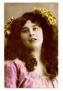 c 1907 Glamour Glamor Young PRETTY LADY Reta Walter tinted photo postcard