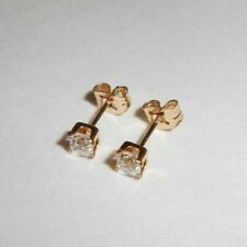 New Solid 14K Yellow Gold Clear Gem Stud Earrings Jewelry 14KT 585 Not Scrap A5