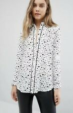 Warehouse Star Print Shirt White & Black Size 14 New With Tags