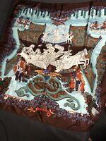"Authentic HERMES ""Le Paradis Du Roy"" By Annie Faivre On Brown 100% Silk Scarf"