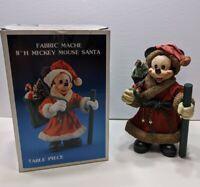 "Vtg 1989 Mickey Mouse Santa Disney World Fabric Mache Figure 7"" w/Box"