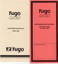 COLLECTIBLE (1984) YUGO/ Zastava UK Brochures Price List and Dealer List