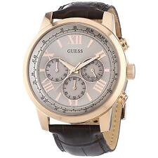 GUESS U0380G4 W0380G4 HORIZON ROSE GOLD BROWN CROC LEATHER CHRONO MEN'S WATCH