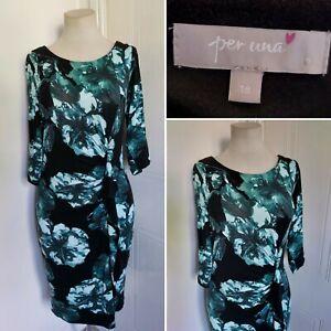 PER UNA M&S Green Black Floral Stretch Pencil Wiggle Dress Ruched 18 Occasion