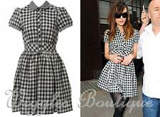 Topshop Gingham Black & White Checked Plaid Skater Shirt Dress - UK12/EU40/US8