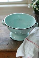 Vintage Style Metal Enamelware Colander-Soft Blue- Kitchen Decor
