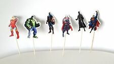 24 pcs Superheros Avengers Cake Picks,Party Cupcake Toppers Birthday Decoration