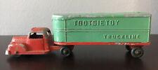 """vintage Red And Green diecast Tootsie Toy Truckline semi truck & trailer 8.25"""""""