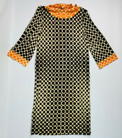 Vintage Goldworm Italy 60s 70s 10 Dress Shift Bell Sleeve Circles Psychedelic