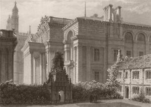 CAMBRIDGE. The New Public Library. LE KEUX 1841 old antique print picture