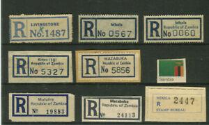SAMBIA, 8 meist alte R-Zettel, verschiedene Typen, sehr selten