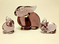 HCA Lavender Ice Mother Rabbit & Two Bunnies by Dalzell Viking from Heisey mold