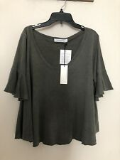 NWT DAYDREAMER Sz L FLUTTER SLEEVE CROPPED TEE WASHED FADED BLACK