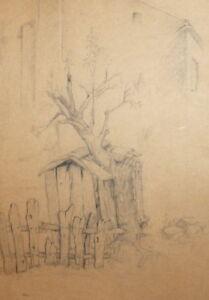 ANTIQUE PENCIL DRAWING LANDSCAPE TREE HUT IMPRESSIONISM